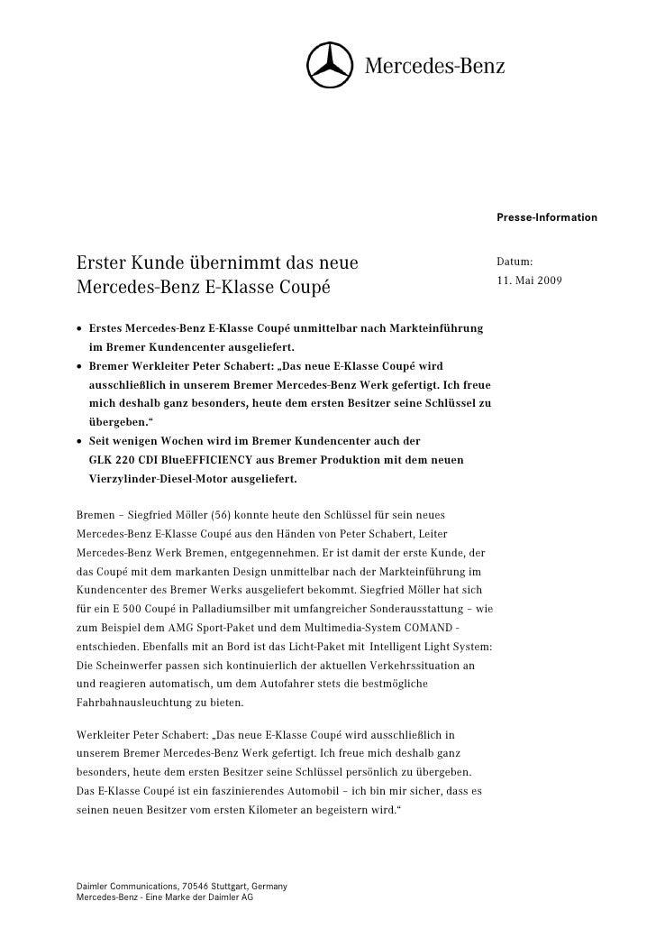 Presse-InformationErster Kunde übernimmt das neue                                                        Datum:           ...