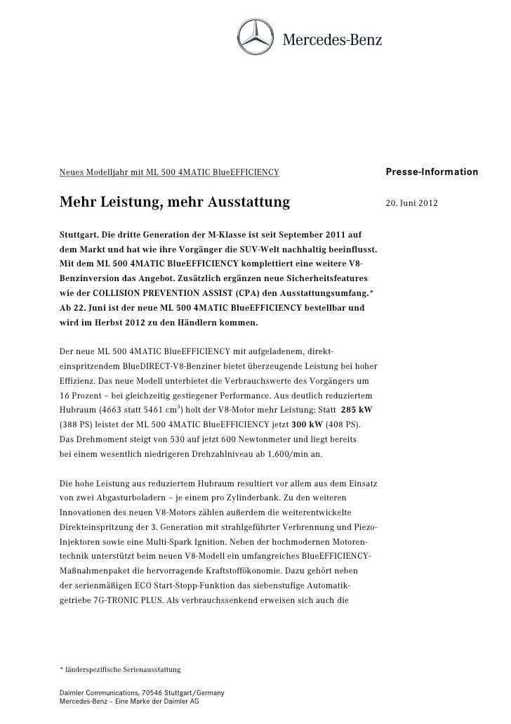 Neues Modelljahr mit ML 500 4MATIC BlueEFFICIENCY                                 Presse-InformationMehr Leistung, mehr Au...
