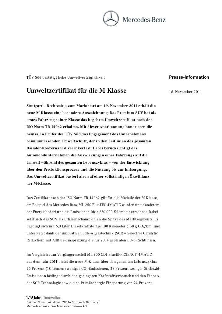 TÜV Süd bestätigt hohe Umweltverträglichkeit                                      Presse-InformationUmweltzertifikat für d...