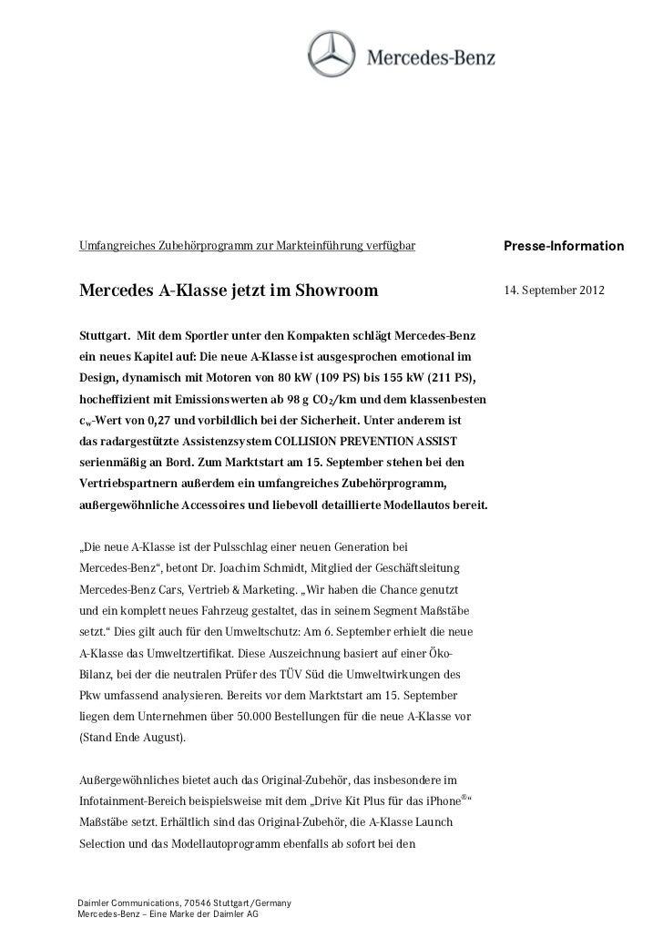 Umfangreiches Zubehörprogramm zur Markteinführung verfügbar                     Presse-InformationMercedes A-Klasse jetzt ...