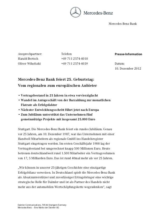 Mercedes-Benz BankAnsprechpartner:                          Telefon:                      Presse-InformationHarald Bertsch...