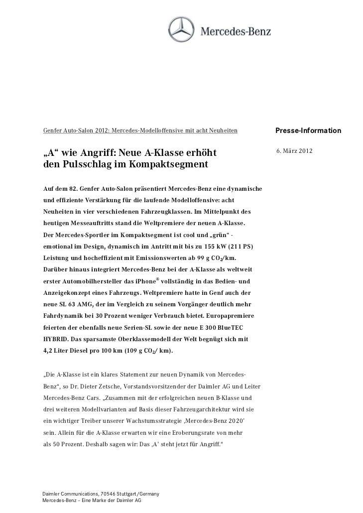 """Genfer Auto-Salon 2012: Mercedes-Modelloffensive mit acht Neuheiten             Presse-Information""""A"""" wie Angriff: Neue A-..."""
