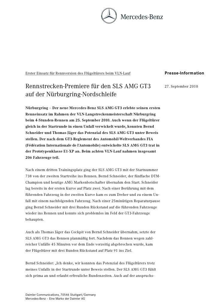 Erster Einsatz für Rennversion des Flügeltürers beim VLN-Lauf                    Presse-InformationRennstrecken-Premiere f...