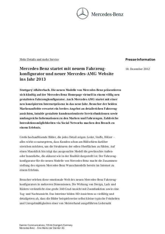 Mehr Details und mehr Service                                                       Presse-InformationMercedes-Benz starte...