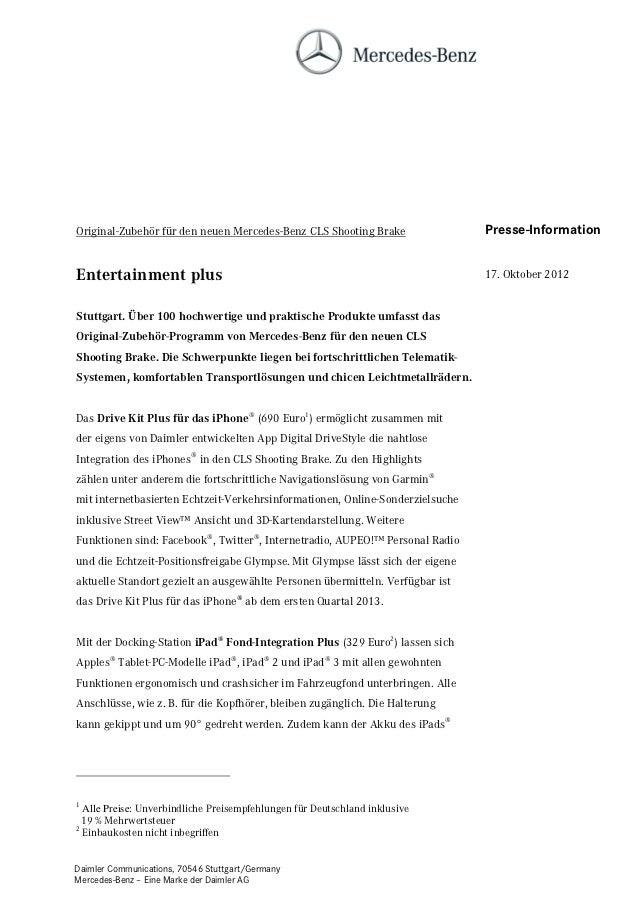 Original-Zubehör für den neuen Mercedes-Benz CLS Shooting Brake                 Presse-InformationEntertainment plus      ...