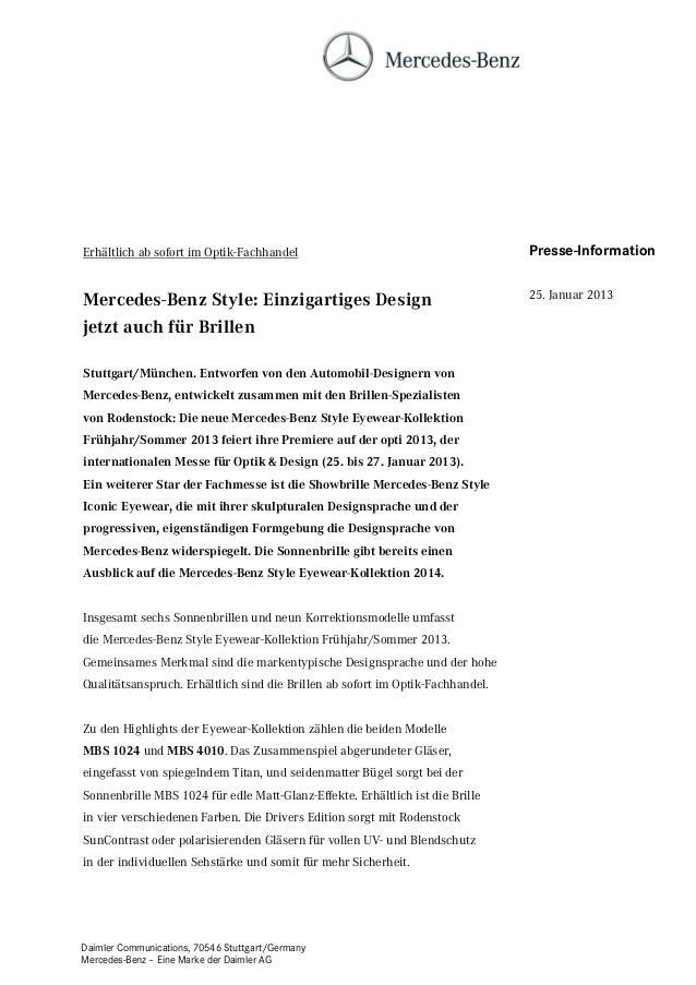 Erhältlich ab sofort im Optik-Fachhandel                                        Presse-InformationMercedes-Benz Style: Ein...