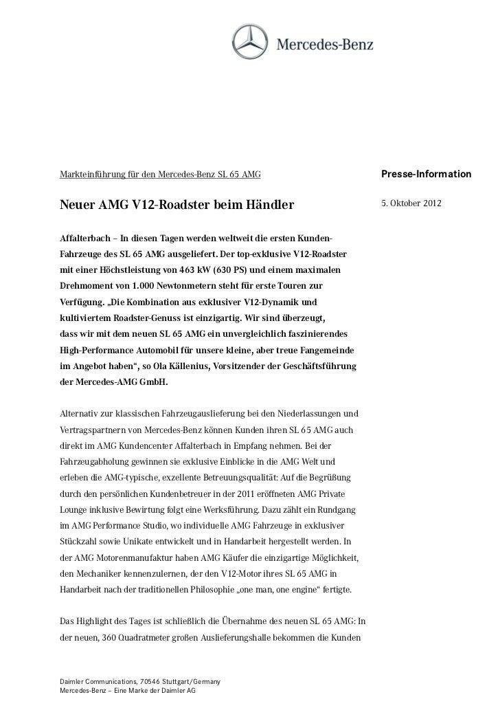 Markteinführung für den Mercedes-Benz SL 65 AMG                                  Presse-InformationNeuer AMG V12-Roadster ...