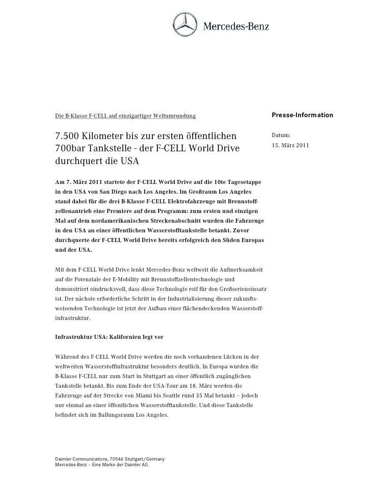 Die B-Klasse F-CELL auf einzigartiger Weltumrundung                                 Presse-Information7.500 Kilometer bis ...