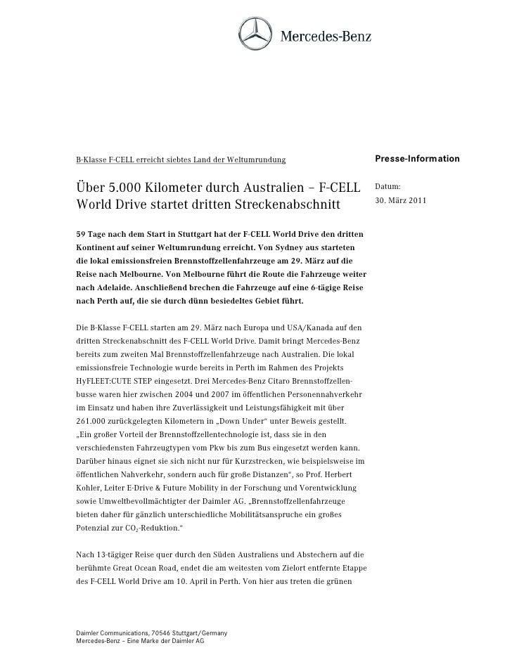 B-Klasse F-CELL erreicht siebtes Land der Weltumrundung                            Presse-InformationÜber 5.000 Kilometer ...
