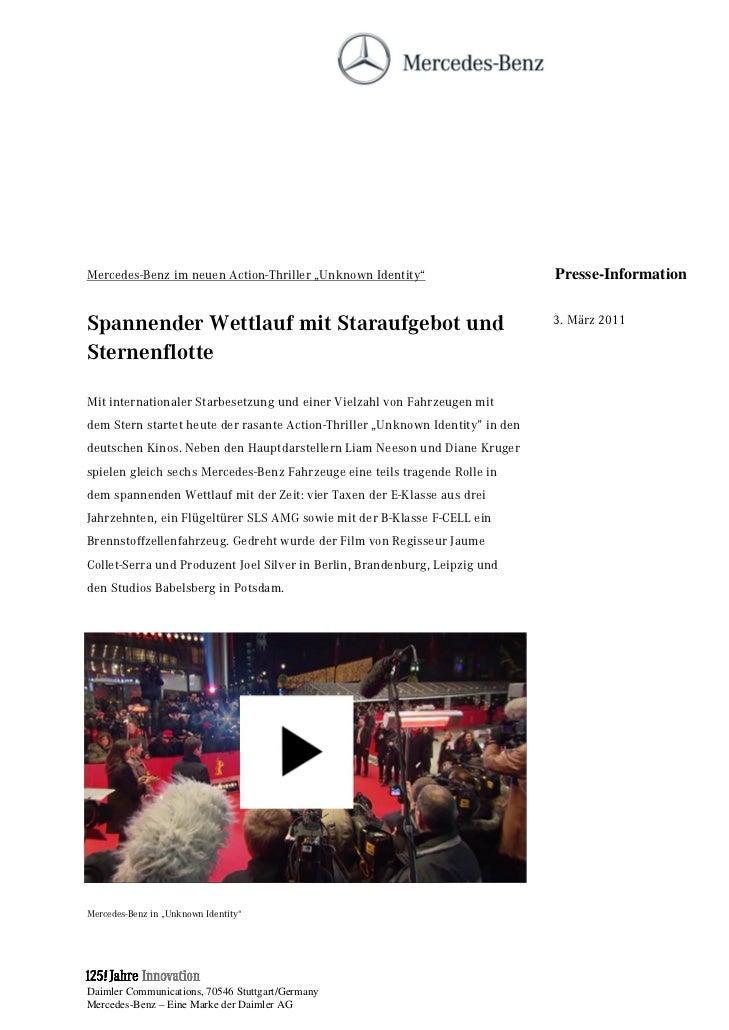 """Mercedes-Benz im neuen Action-Thriller """"Unknown Identity""""                       Presse-InformationSpannender Wettlauf mit ..."""