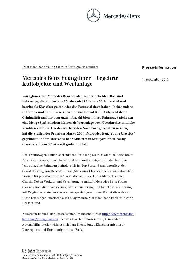 """Mercedes-Benz Young Classics"" erfolgreich etabliert                            Presse-InformationMercedes-Benz Youngtimer..."