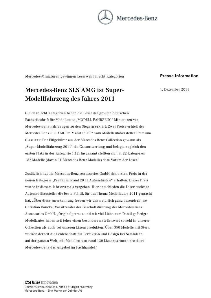 Mercedes-Miniaturen gewinnen Leserwahl in acht Kategorien                      Presse-InformationMercedes-Benz SLS AMG ist...