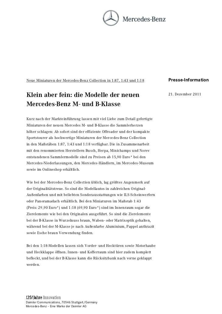 Neue Miniaturen der Mercedes-Benz Collection in 1:87, 1:43 und 1:18         Presse-InformationKlein aber fein: die Modelle...