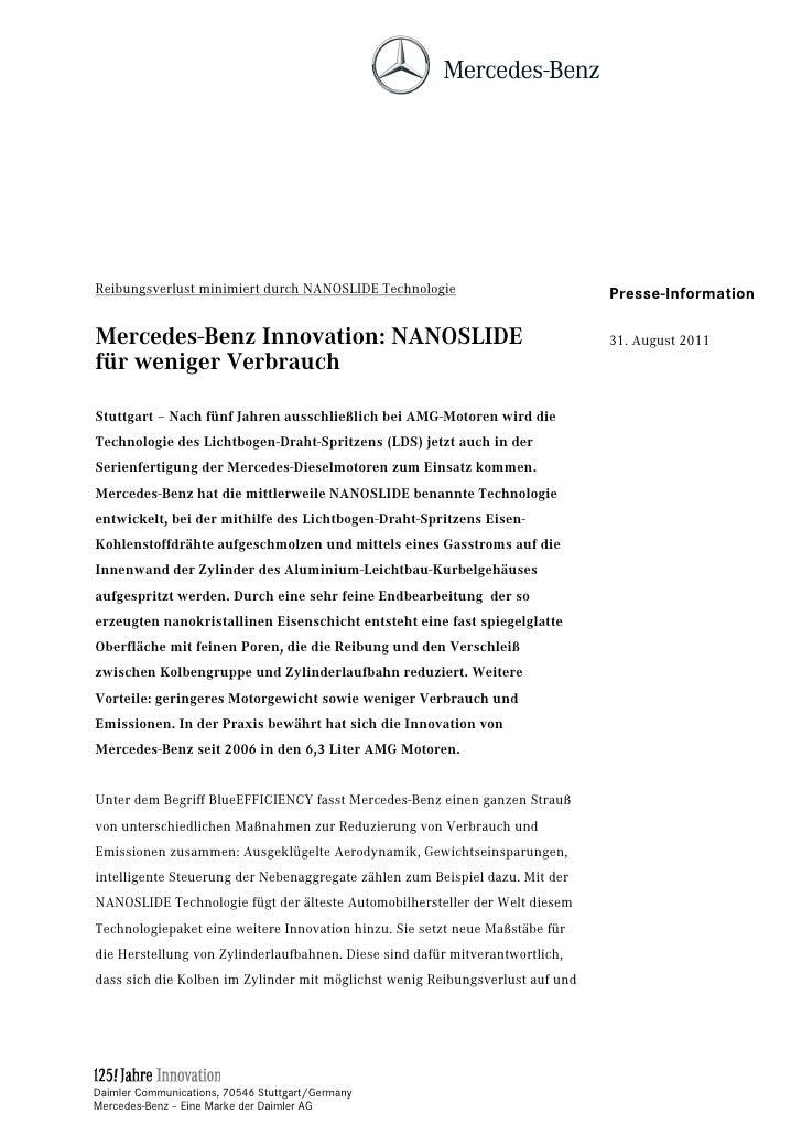 Reibungsverlust minimiert durch NANOSLIDE Technologie                          Presse-InformationMercedes-Benz Innovation:...