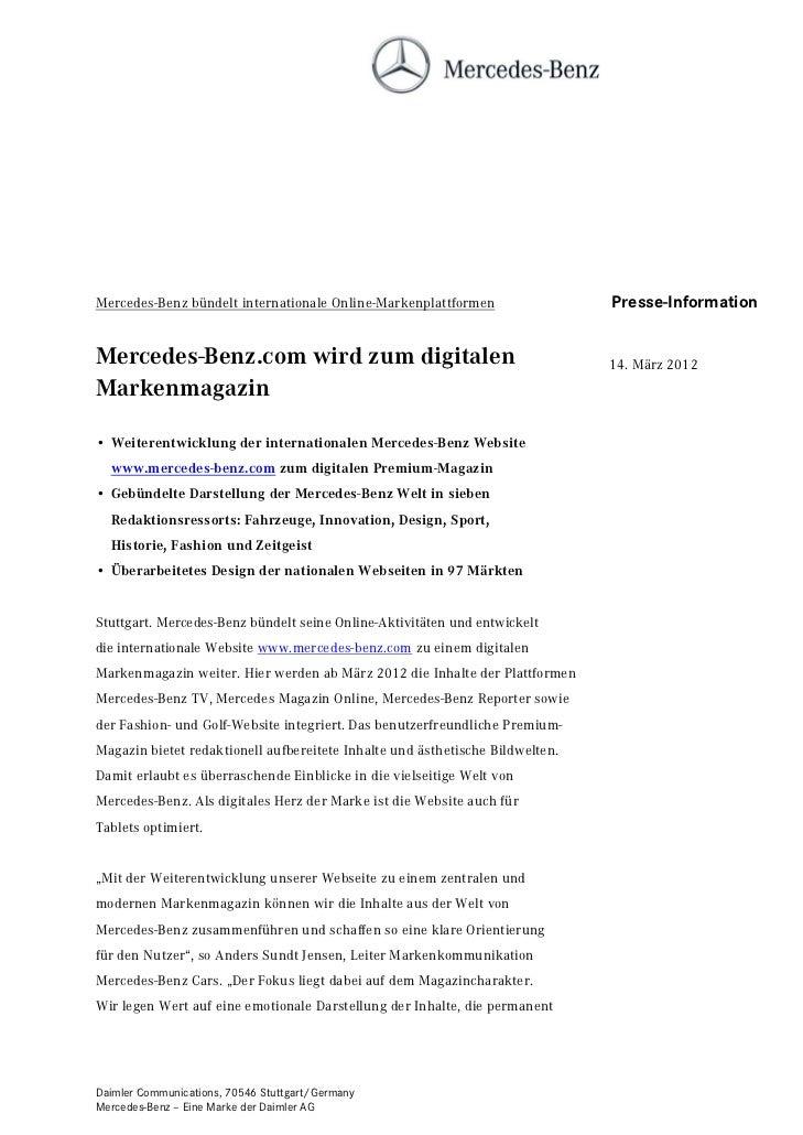 Mercedes-Benz bündelt internationale Online-Markenplattformen                  Presse-InformationMercedes-Benz.com wird zu...