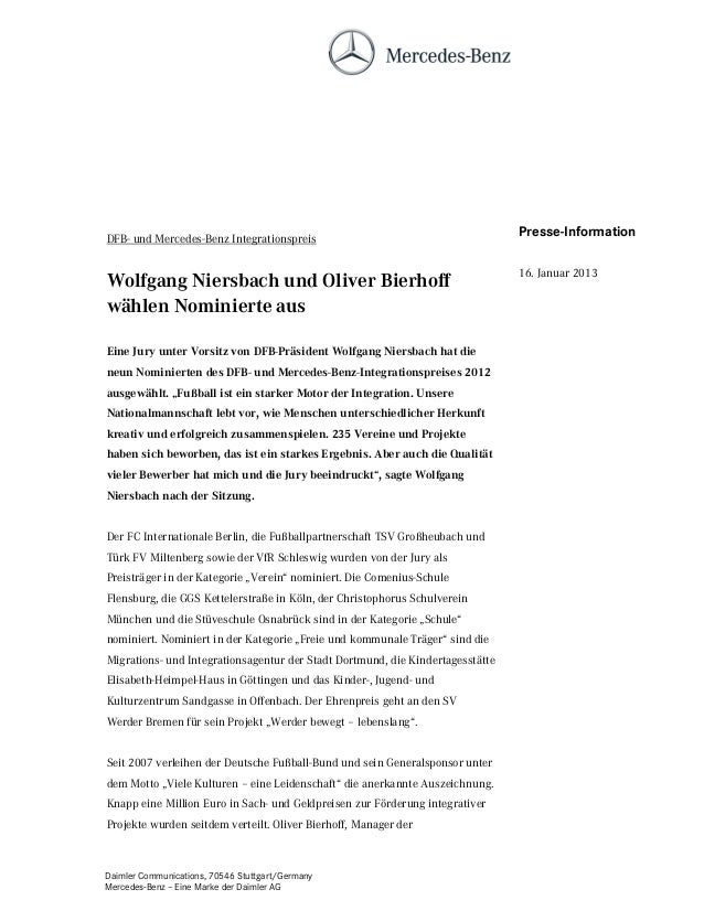 DFB- und Mercedes-Benz Integrationspreis                                        Presse-Information                        ...