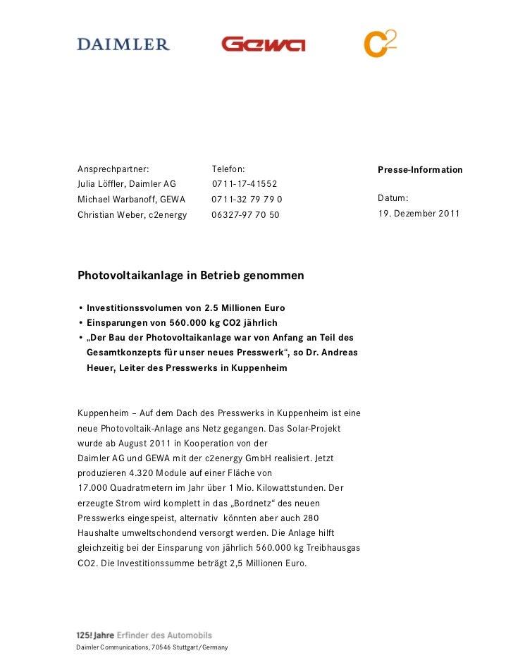 Ansprechpartner:                          Telefon:                     Presse-InformationJulia Löffler, Daimler AG        ...