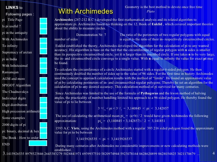 History And Algorithm Of Pi