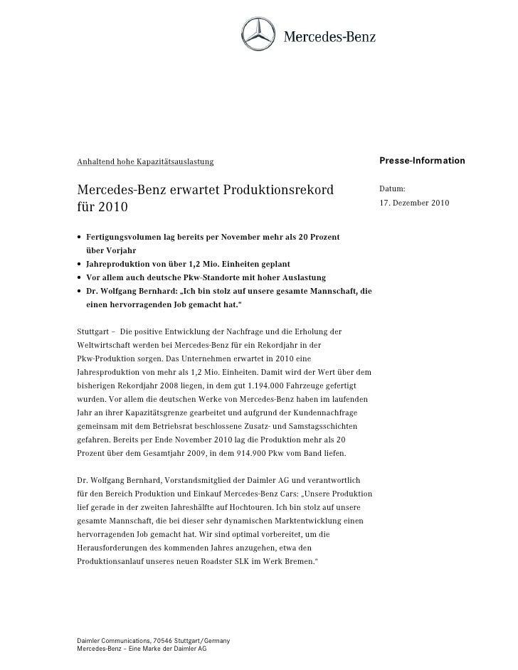 Anhaltend hohe Kapazitätsauslastung                                                Presse-InformationMercedes-Benz erwarte...