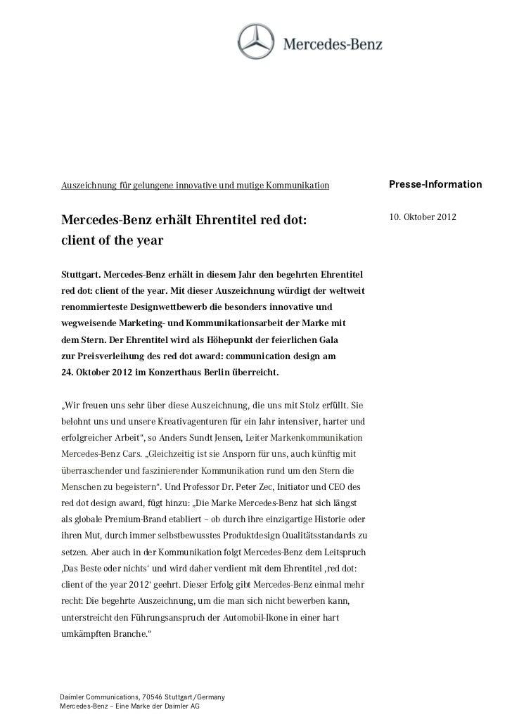 Auszeichnung für gelungene innovative und mutige Kommunikation                   Presse-InformationMercedes-Benz erhält Eh...