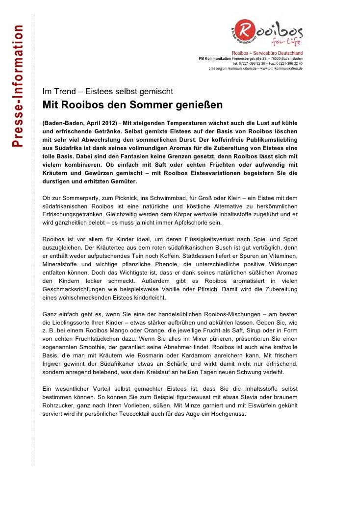 Presse-Information                                                                                                 Rooibos...