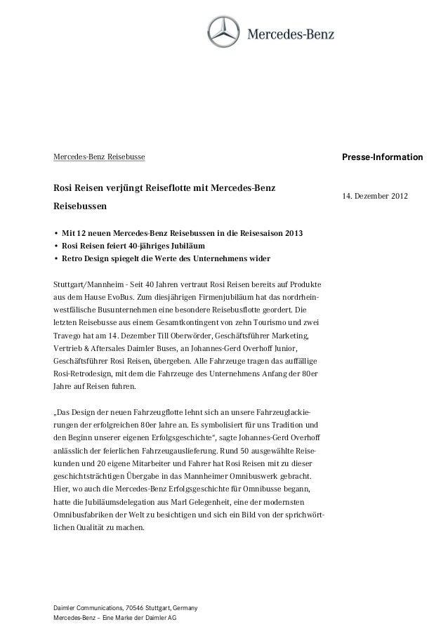 Mercedes-Benz Reisebusse                                                        Presse-InformationRosi Reisen verjüngt Rei...