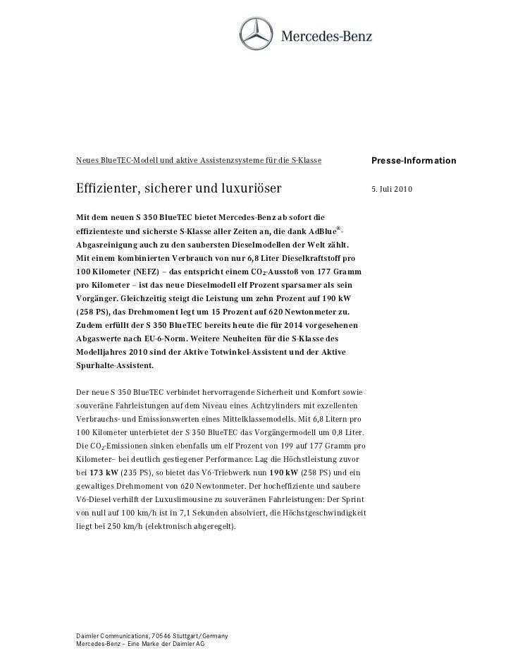 Neues BlueTEC-Modell und aktive Assistenzsysteme für die S-Klasse                 Presse-InformationEffizienter, sicherer ...