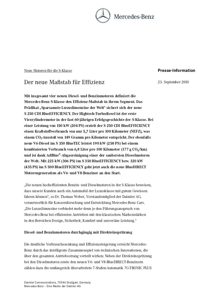 Neue Motoren für die S-Klasse                                                    Presse-InformationDer neue Maßstab für Ef...