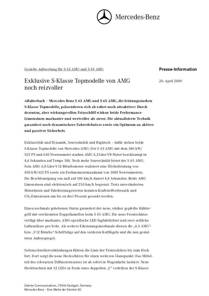 Gezielte Aufwertung für S 63 AMG und S 65 AMG                                      Presse-Information                     ...