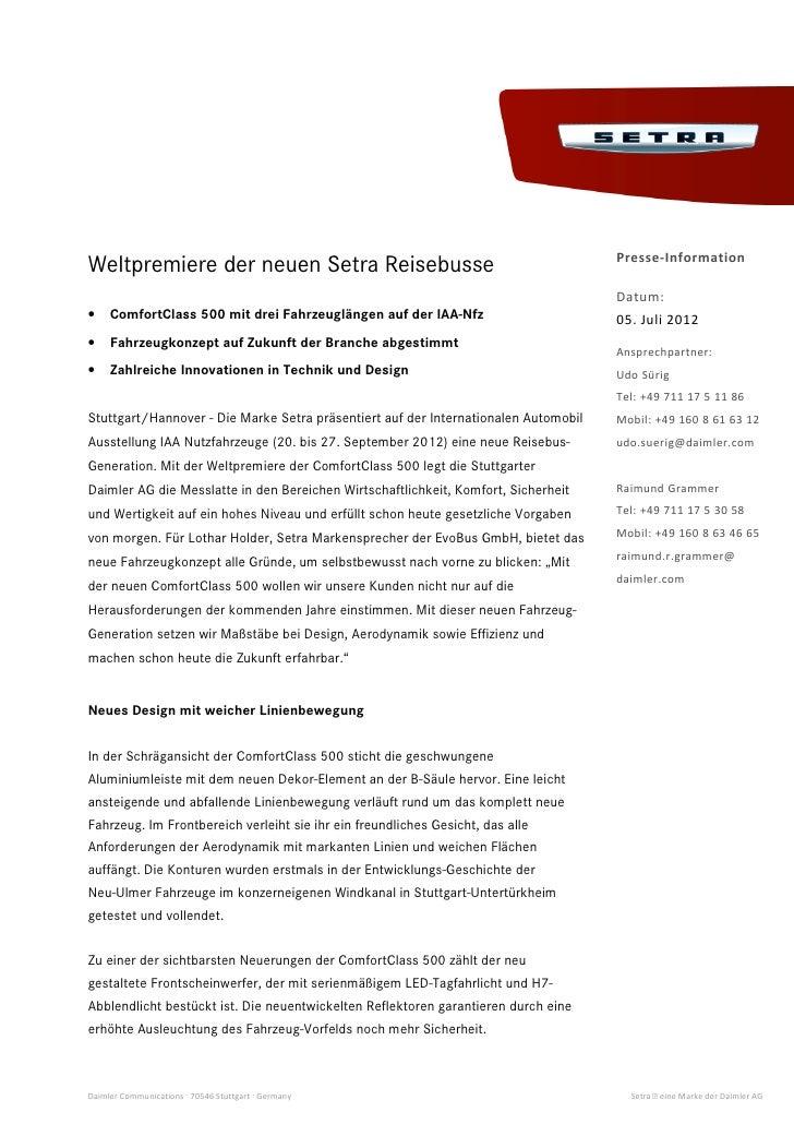 Presse-InformationWeltpremiere der neuen Setra Reisebusse                                                                 ...