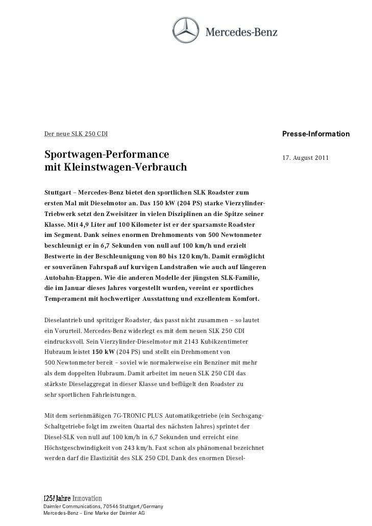 Der neue SLK 250 CDI                                                          Presse-InformationSportwagen-Performance    ...