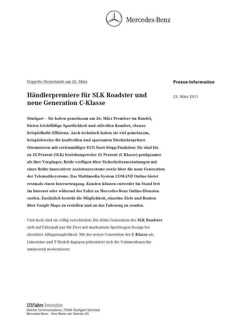 Doppelte Sternstunde am 26. März                                               Presse-InformationHändlerpremiere für SLK R...