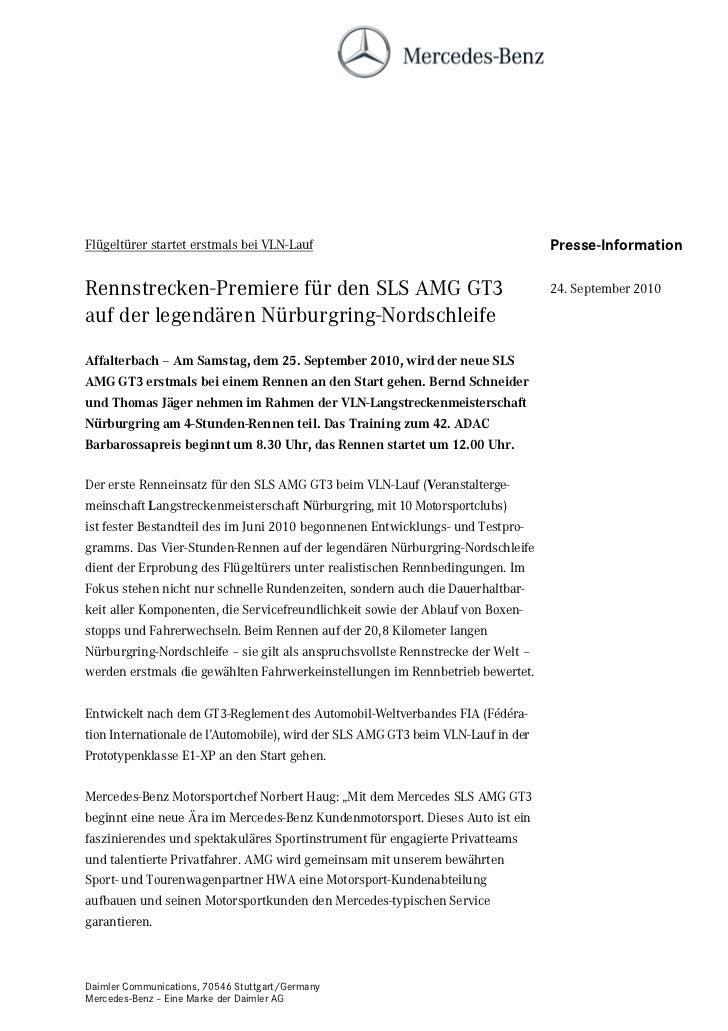 Flügeltürer startet erstmals bei VLN-Lauf                                         Presse-InformationRennstrecken-Premiere ...