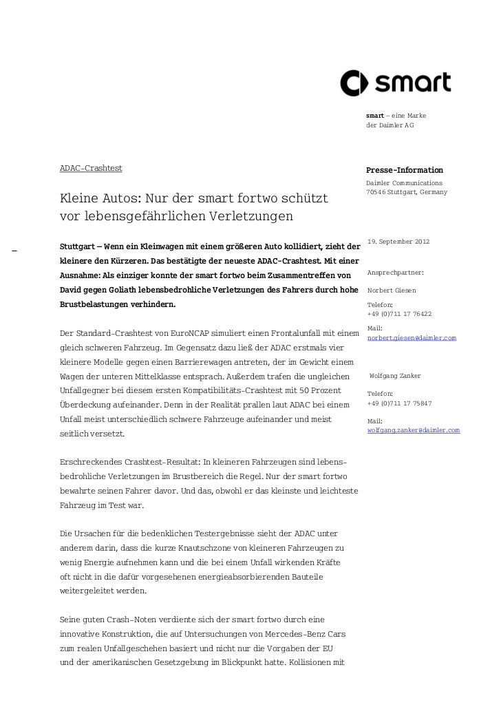 smart – eine Marke                                                                                der Daimler AGADAC-Crash...