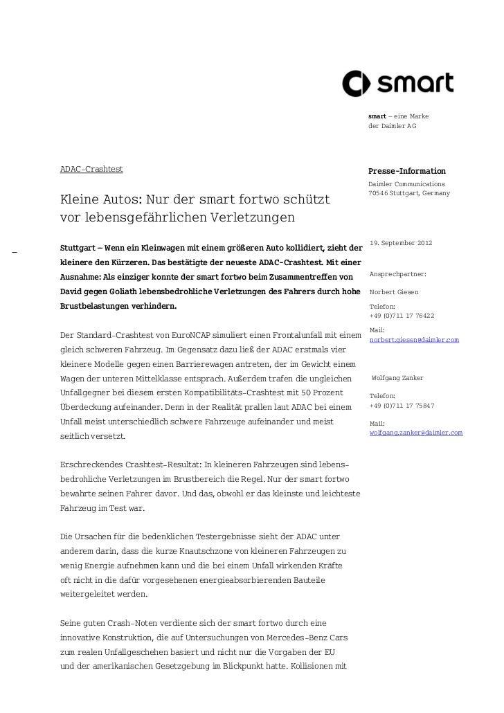 smart – eine Marke                                                                                der Daimler AGADAC-Crash...