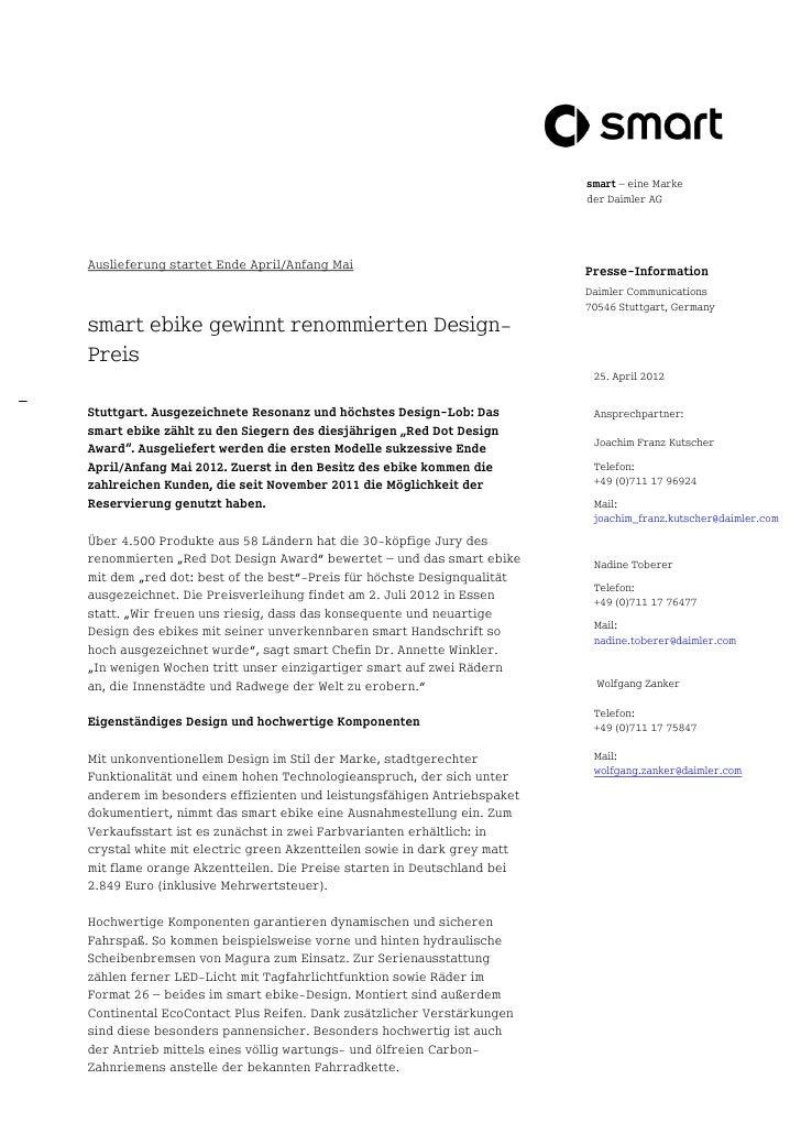 smart – eine Marke                                                                        der Daimler AGAuslieferung start...