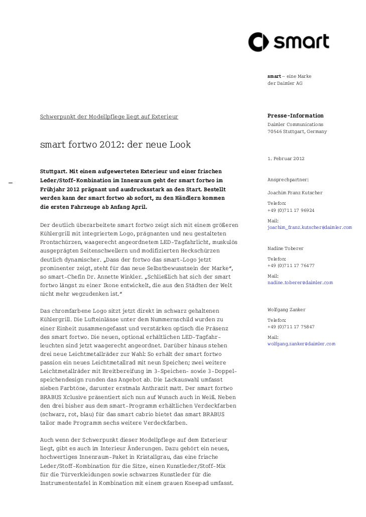 smart – eine Marke                                                                        der Daimler AGSchwerpunkt der Mo...