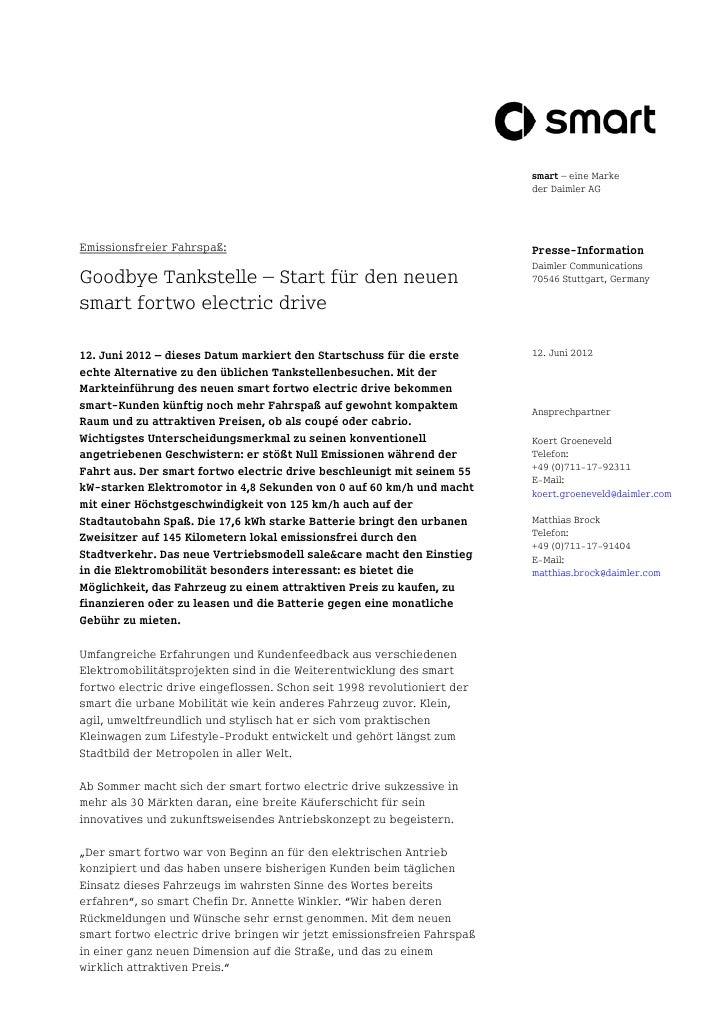 smart – eine Marke                                                                         der Daimler AGEmissionsfreier F...