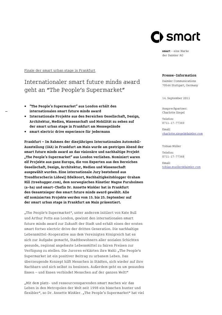 smart – eine Marke                                                                          der Daimler AGFinale der smart...
