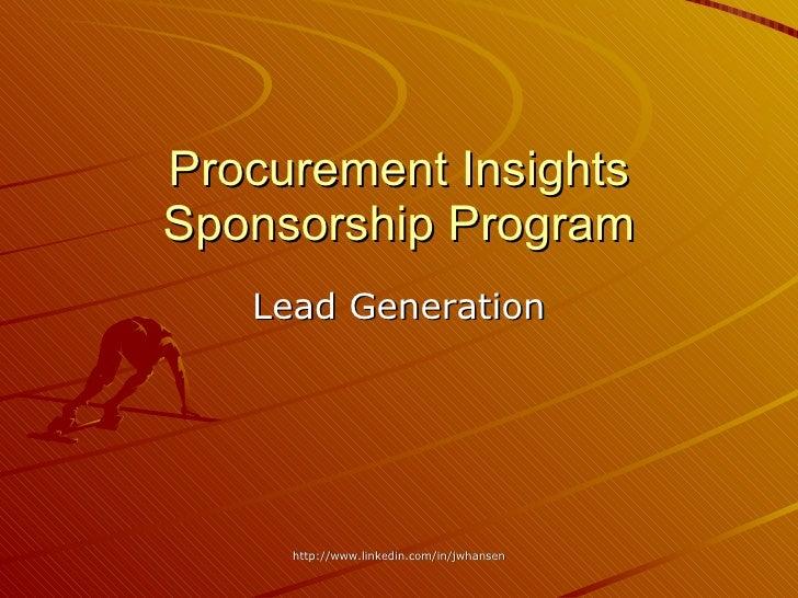 Procurement Insights Sponsorship Program Lead Generation