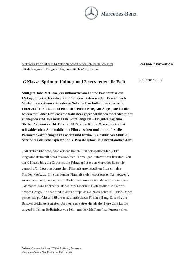"""Mercedes-Benz ist mit 14 verschiedenen Modellen im neuen Film                   Presse-Information""""Stirb langsam – Ein gut..."""