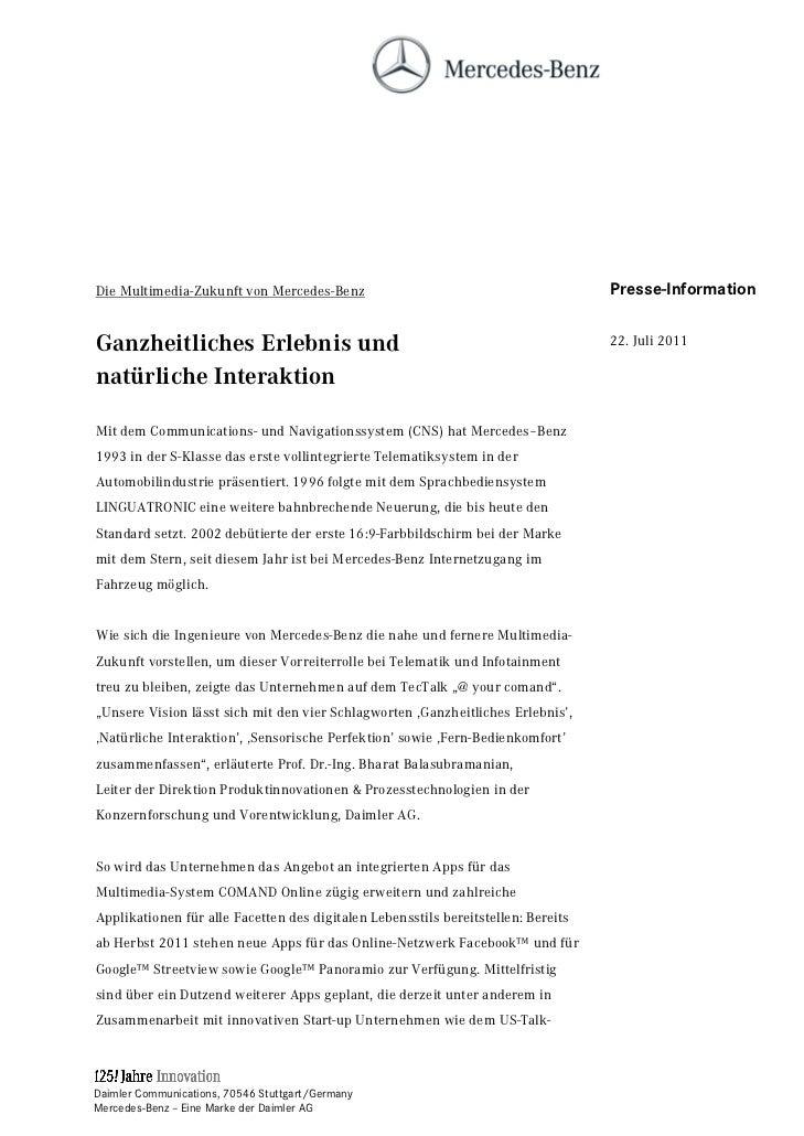 Die Multimedia-Zukunft von Mercedes-Benz                                           Presse-InformationGanzheitliches Erlebn...