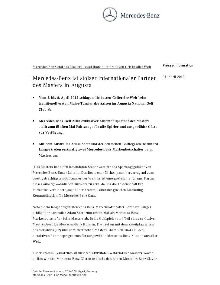 Mercedes-Benz und das Masters - zwei Ikonen unterstützen Golf in aller Welt          Presse-Information                   ...