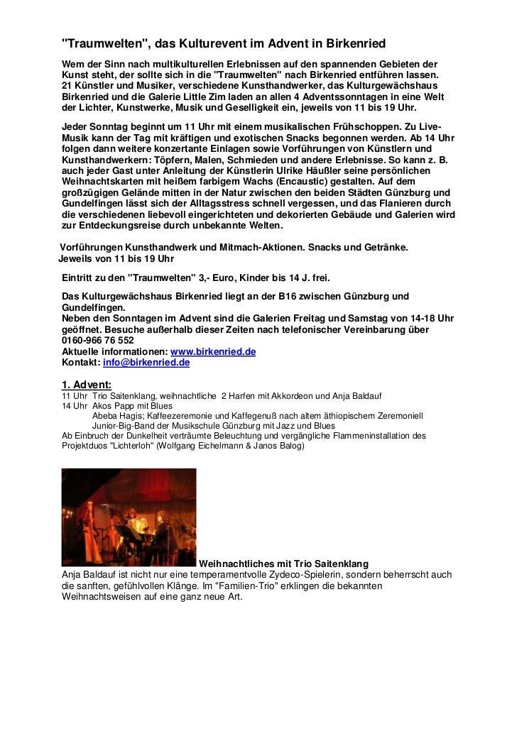 """""""Traumwelten"""", das Kulturevent im Advent in BirkenriedWem der Sinn nach multikulturellen Erlebnissen auf den spannenden Ge..."""