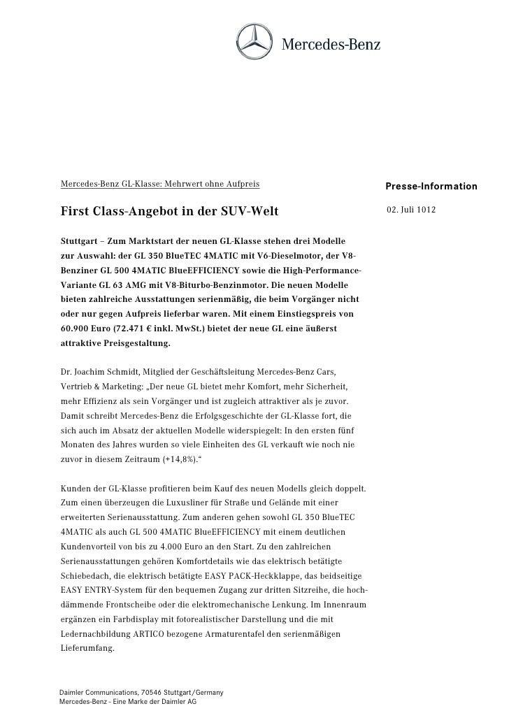 Mercedes-Benz GL-Klasse: Mehrwert ohne Aufpreis                                Presse-InformationFirst Class-Angebot in de...