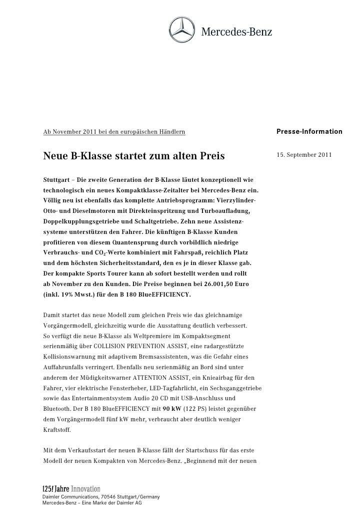 Ab November 2011 bei den europäischen Händlern                                   Presse-InformationNeue B-Klasse startet z...
