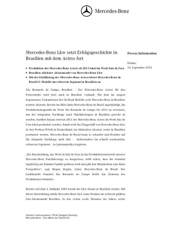 Mercedes-Benz Lkw setzt Erfolgsgeschichte in                                        Presse-InformationBrasilien mit dem Ac...