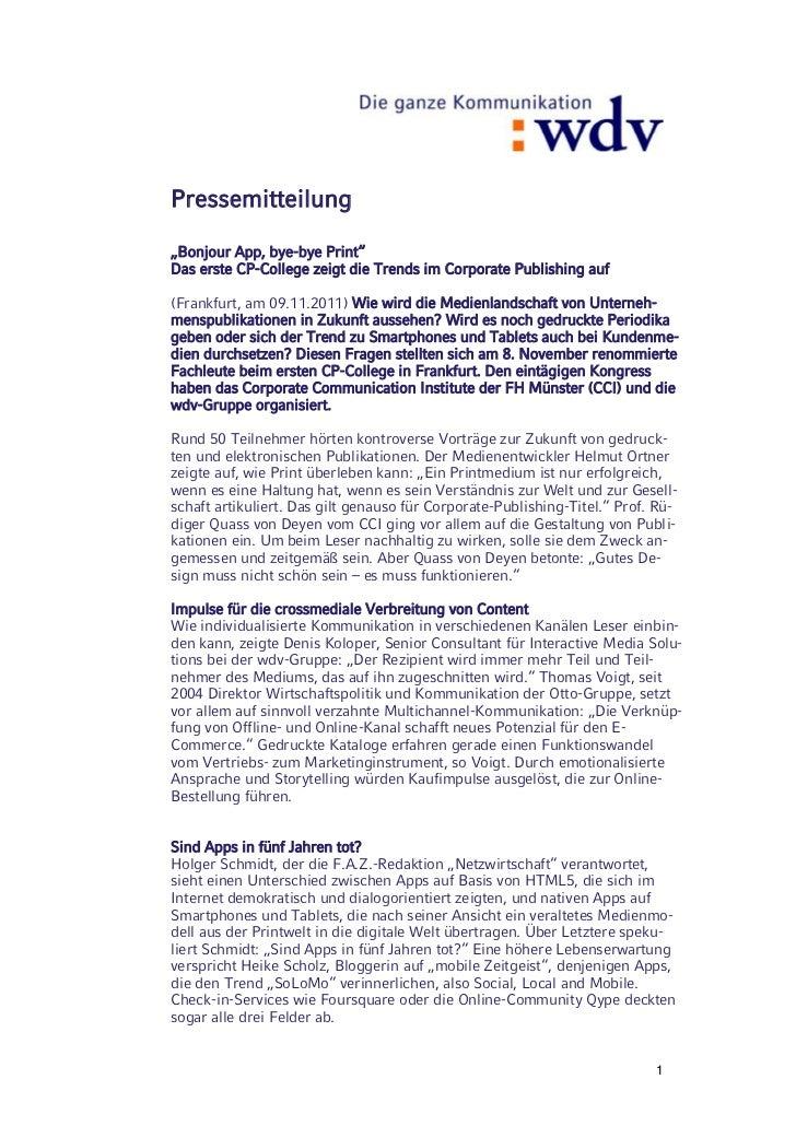 """Pressemitteilung""""Bonjour App, bye-bye Print""""Das erste CP-College zeigt die Trends im Corporate Publishing auf(Frankfurt, a..."""