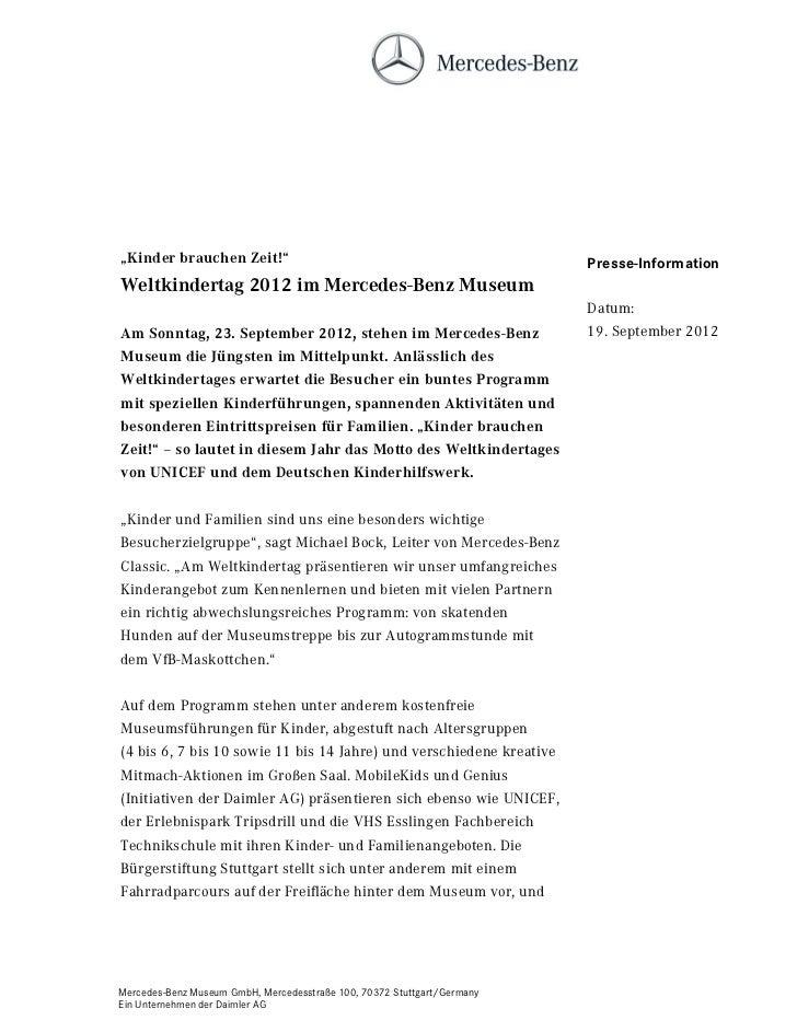 """""""Kinder brauchen Zeit!""""                                                  Presse-InformationWeltkindertag 2012 im Mercedes-..."""