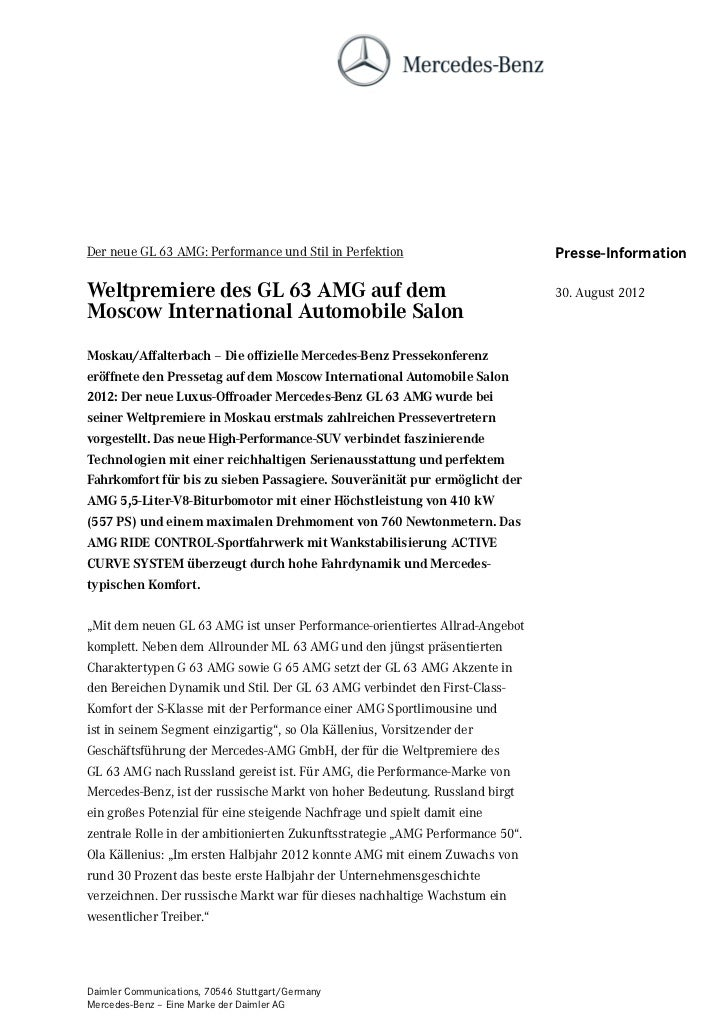 Der neue GL 63 AMG: Performance und Stil in Perfektion                         Presse-InformationWeltpremiere des GL 63 AM...